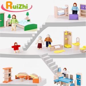 Image 1 - Ruizhi деревянный миниатюрный мебельный набор имитация дома кукольный домик аксессуары детские развивающие игрушки Детский подарок на день рождения RZ1077