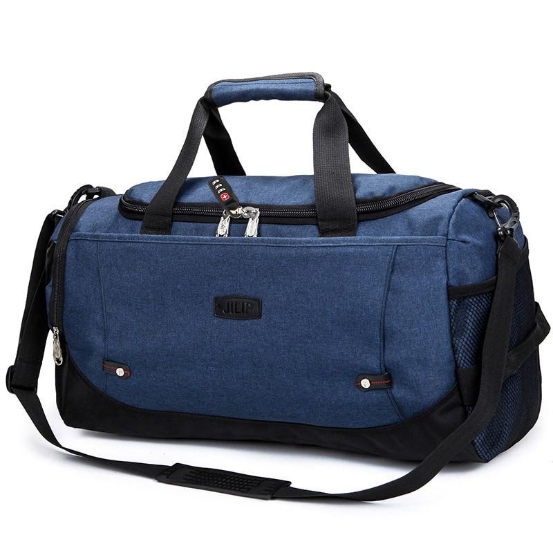 MARKROYAL Многофункциональный Водонепроницаемый Для мужчин Дорожная сумка с защитой от краж дорожная сумка для путешествий большой Ёмкость Сумки из натуральной кожи для уик-энда в одночасье - Цвет: Dark Blue