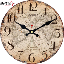 Buy map clock and get free shipping on aliexpress meistar antique clocks silent world map sailboat design clock home decor for office study kitchen large gumiabroncs Gallery