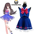 Free Shipping OW Hana Song D.Va Blue Sailor School  Uniform Game Cosplay Costume