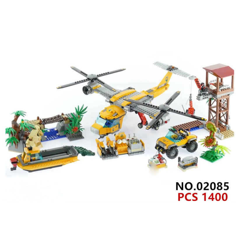Hot city series jungle air drop helicopter building block explorer figures bricks 60162 truck boat educational toys for gifts hot city fire rescue ladder engine truck building block fireman figures bricks educational toys for children gifts