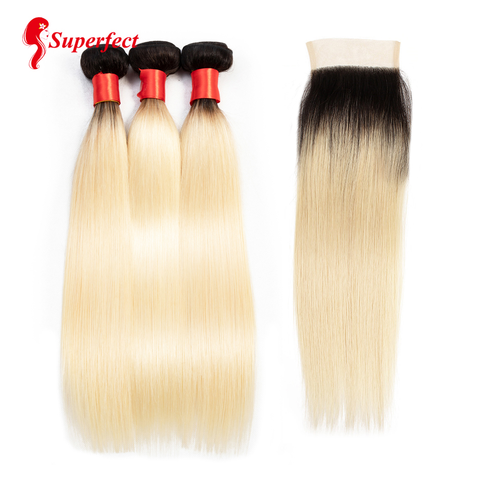 Superfect Honey Blonde Bundles With Closure Brazilian Straight Hair Ombre Bundles With Closure 3 Bundles with