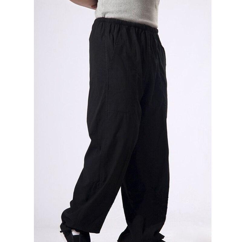 Китайский мужские хлопок кунг-фу брюки Боевые искусства Мотобрюки Wu Шу костюм занятий длинные Мотобрюки
