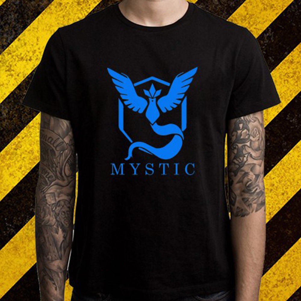 New Pokemon Go Team Mystic Logo Popular Game Mens Black T-Shirt Size S To 2XL MenS T Shirts Short Sleeve O-Neck Cotton
