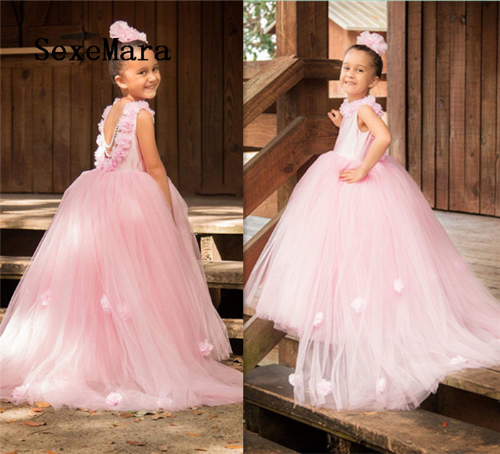 new black and gold lace flower girls dresses high neck with corset back ball gown designer pageant gown girls birthday dresses New Arrival Ball Gown Pink Puffy Tulle Flower Girls Dresses for Wedding O Neck Flower Girls Pageant Gown Birthday Christmas Gown