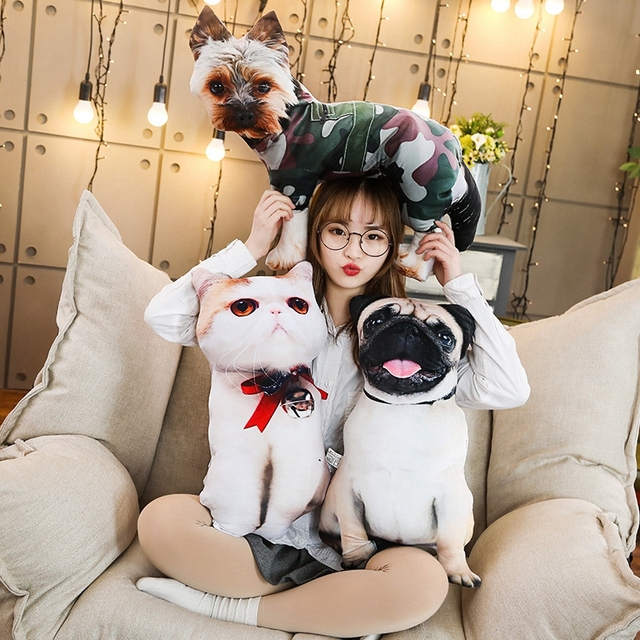 Simulation Funny Dog&Cat Plush Pillow Soft Cartoon Animal Pug&Persian Cat Stuffed Doll Nap Pillow Cushion Baby Kid Birthday Gift