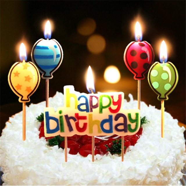5PCS Happy Birthday Candle Cake Candles Cake Topper Birthday Cake