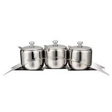 Three-piece High-grade kitchen Stainless Steel Spice Sugar Salt Pepper Storage Bottle Cooking Barbecue Tool