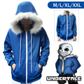 2016 Japan HOT Game Undertale Sans Coat Unisex Skeleton Zipper Hoodies Anime Cosplay Sweatshirt