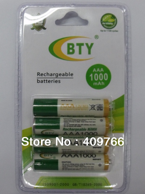 24PCS/LOT Original High Quality BTY AAA 1.2V 1000mAh Rechargeable Ni-MH Battery Batteries Free Shippng 4pcs/pack