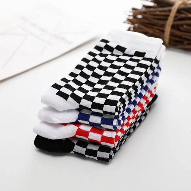 Korea Funky Trend Checkerboard Geometric Checkered Socks 4