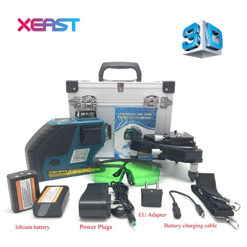 XEAST 3D XE-90G 12 линий зеленый Лазерные уровни наливные 360 горизонтальный и вертикальный крест супер мощный зеленый лазер луч линии