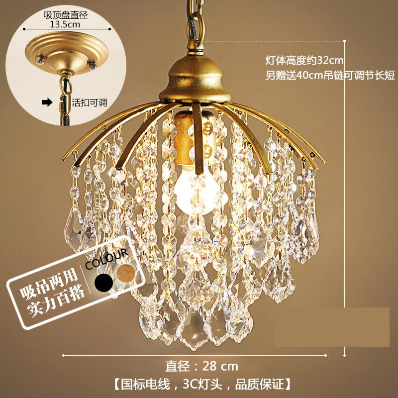 Or 1 pièces porche lumière café salle à manger Mini pendentif lampe en cristal Led méditerranée mer E27 fer cristal cuisine éclairage - 4