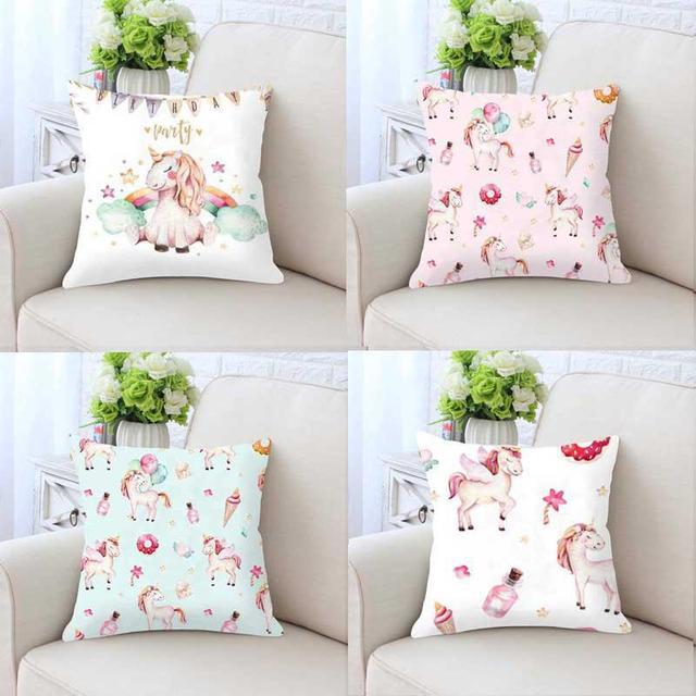 Mini Cute Unicorn Pillow Case Party Balloons Slime Cushion Cover