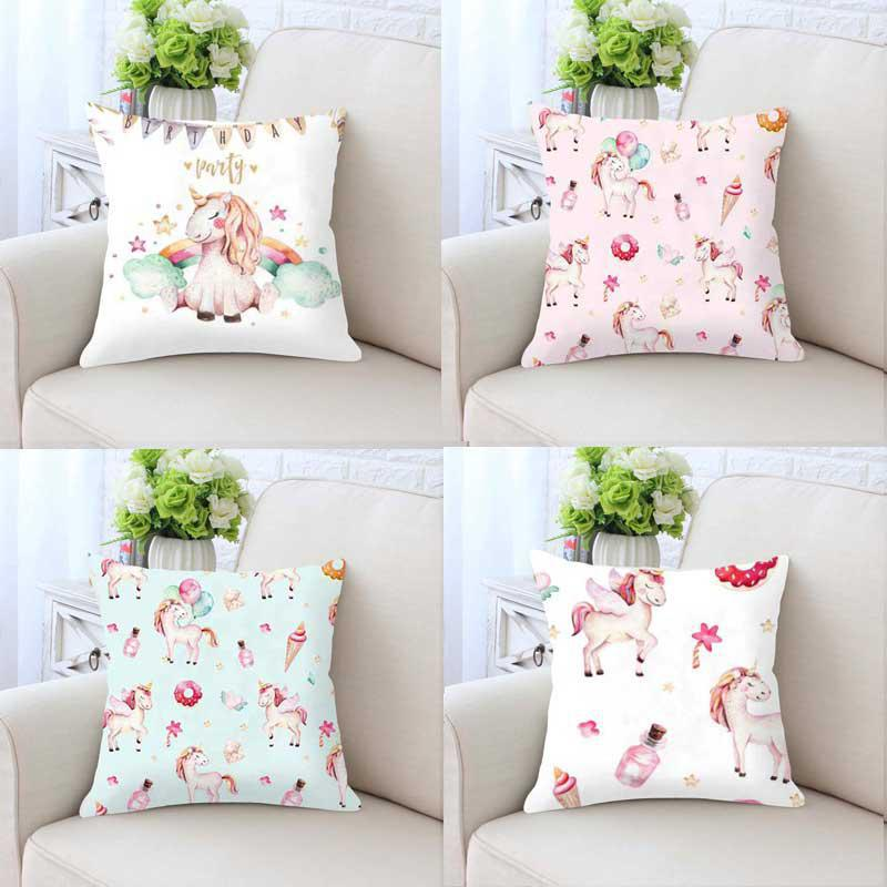 Mini Cute Unicorn Pillow Case Party Balloons Slime Cushion Cover Pink Rainbow Fantasy Plush Diy Custom For Kids Bedroom Decor