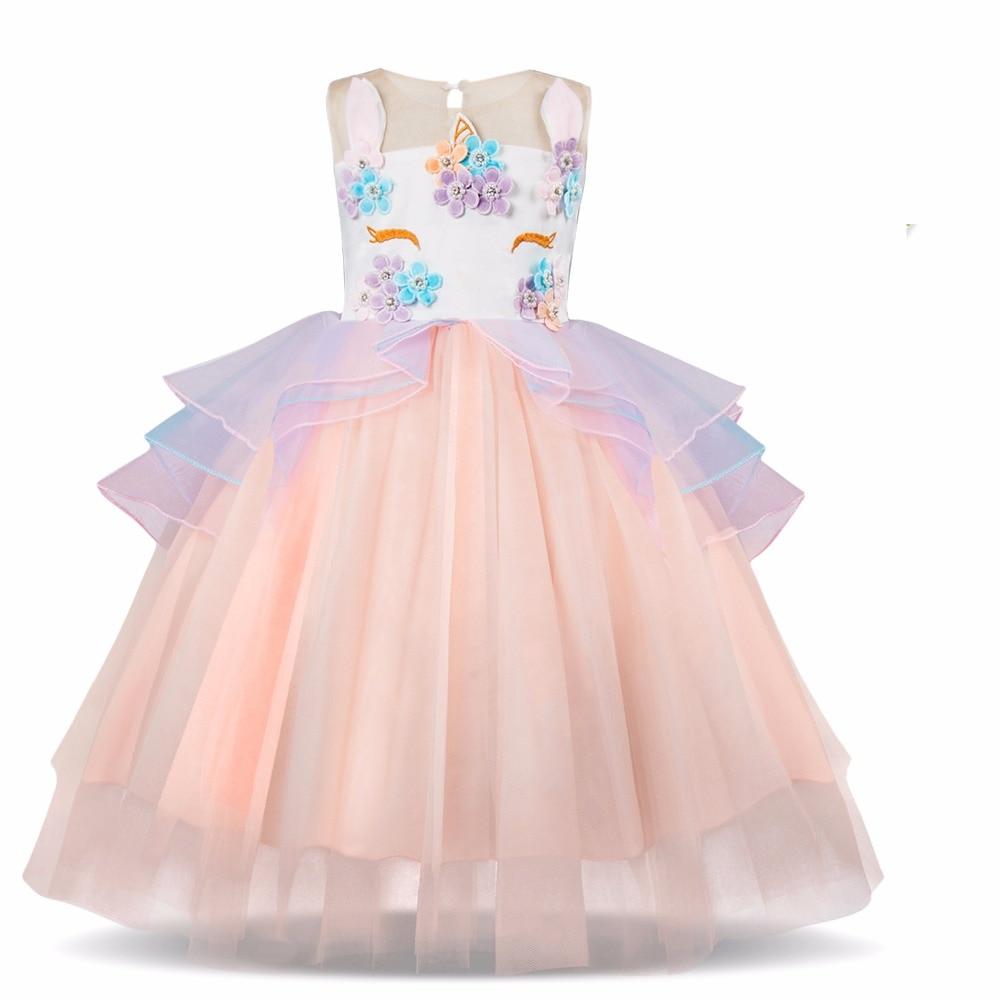 0da35bc5a9d941 Nieuwe Bloemen Jurk Voor Meisjes Verjaardag en Bruiloft Kids Party Prom  Gown Meisje Kinderkleding Zomer Bloem