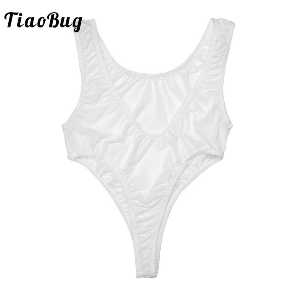 ee5c5bf153 2018 TiaoBug Sexy High Cut See-through Womens Bodysuit Sleeveless DeepV  Neck Jumpsuits One Piece
