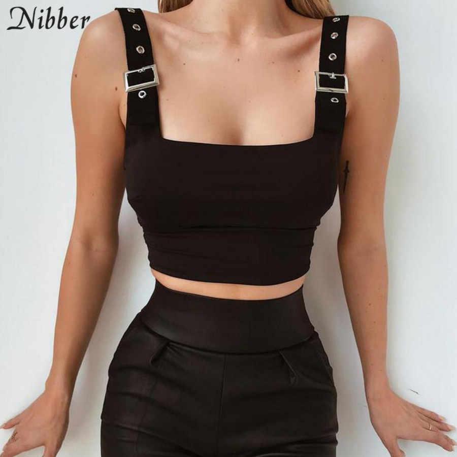Nibber שחור לבן בסיסי חלב משי נשים חולצה 2019 חדש מתכת כפתור יבול למעלה Slim fit רך אפוד גברת אופנה פשוט גופייה