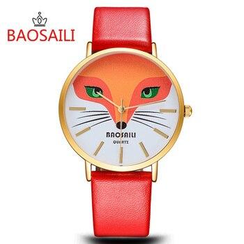 9bb20bb94815 Lujo BAOSAILI mujer creativa Fox Dial relojes moda Casual cuero rojo cuarzo  reloj Relogio Feminino caliente
