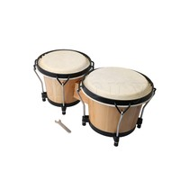 Yibuy 21cm/18cm Dia Musical Instruments Wooden Percussion Instrument African Drum Bongos Hand Drums