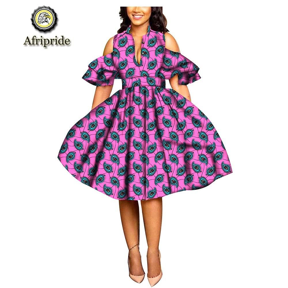 2018 ~ 2019 Di Modo Africano Vestito Di Primavera Del Manicotto Del Petalo Stampa Tessuto Africano Ankara Dashiki Bazin Riche Afripride S1825033