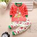 2016 nova outono menina roupa do bebê conjuntos de roupas de bebê de algodão terno agasalho 2 pçs/set dos desenhos animados t-shirt + calças roupa dos miúdos conjuntos