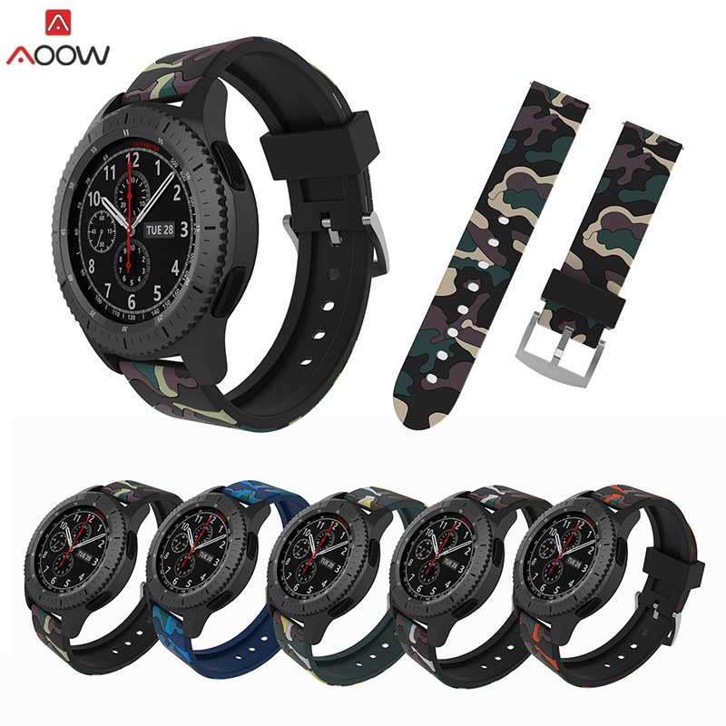 AOOW 22mm Watchband for Samsung Gear S3 Classic Frontier Sport Style Replacement Bracelet Band Strap for Gear S3 Camo Silicone tearoke 11 color silicone watchband for gear s3 classic frontier 22mm watch band strap replacement bracelet for samsung gear s3