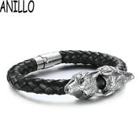 Pulseira Masculina Men Fashion Personality Necessary Platinum Plated Wolf Stainless Steel Bracelet Magnetic Buckle Woven Bangle