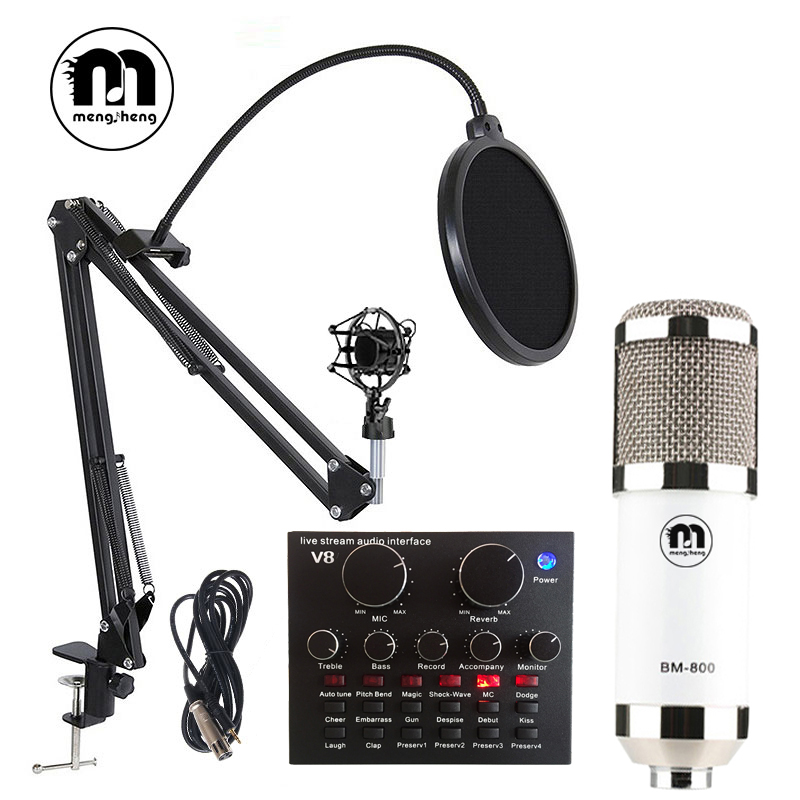 BM 800 Usb Studio Condenser Microphone for Computer Recording Studio Microphone with Pop Filter/Stand/ XLR Cable live Sound Card felyby professional live condenser microphone for computer and phone bm 800 karaoke microphone multi function live sound card