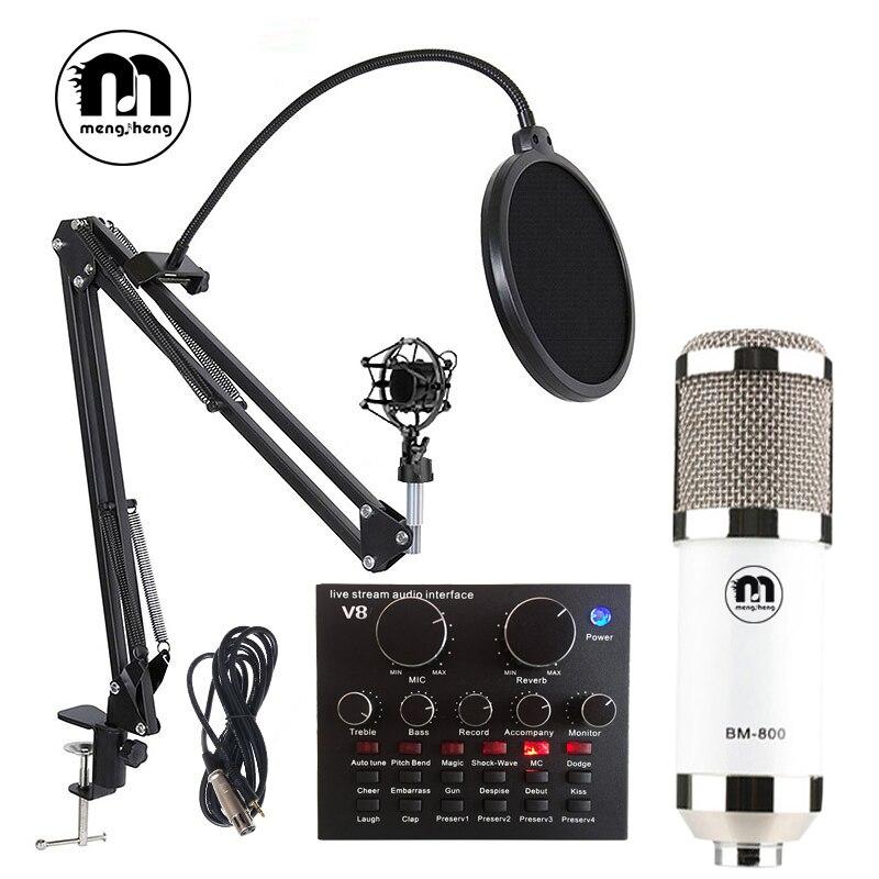 BM 800 Usb Studio Microfono A Condensatore per la Registrazione Del Computer Studio Microfono con Filtro Anti-Pop/Stand/XLR Cavo in diretta scheda audio