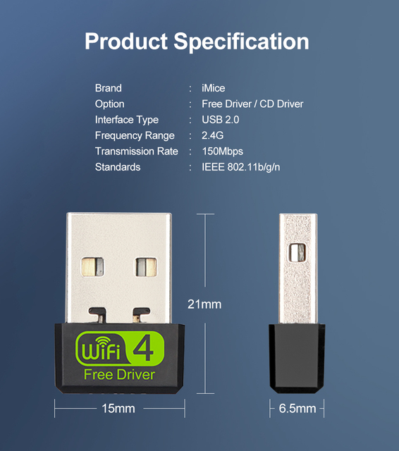 Mini USB WiFi Adapter 150Mbps Wi-Fi Adapter For PC USB Ethernet WiFi Dongle 2.4G Network Card Antena Wi Fi Receiver 2