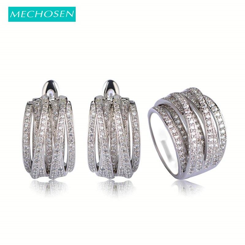 все цены на MECHOSEN Luxury Copper Wedding Jewelry Sets Silver Color Earrings Ring For Women Prong Setting Zirconia Brincos Anel Schmuck Vaz