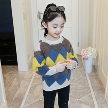 Kids Girls Sweaters 2018 Autumn Winter Children Clothing Plaid Pullover Knit Sweater Teenage Girls Clothes 4 6 8 10 12 13 Years kids dresses for girls sweaters 2017 new autumn cotton sweater dress for girls clothing school kids clothes 10 11 12 13 14 years