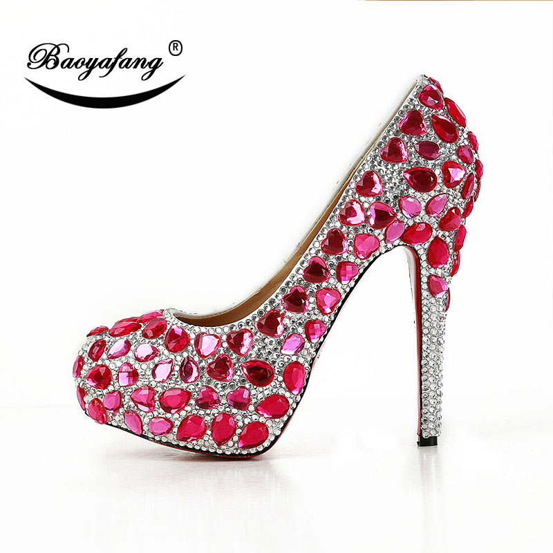 BaoYaFang 2019 New arrive Fucshia Pink crystal Ladies Wedding shoes Bride High heels Platform shoes party