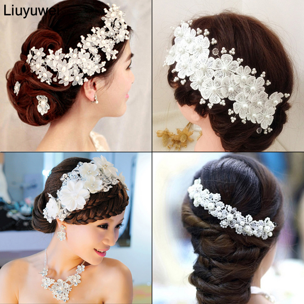 Fashion Wedding Hair Accessories Pearl Haedbands For Bride Red White Lace Crystal Tiara Floral Elegant Bridal Hair Jewelry(China)