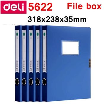 5 sztuk partia Deli 5622 5623 A4 plik box dokumenty box plik case z pluszowym zapięciem 35mm 50mm kolor niebieski i czarny hurtownie tanie i dobre opinie Plik skrzynka 5622 5623 Przypadku A4-35 50mm