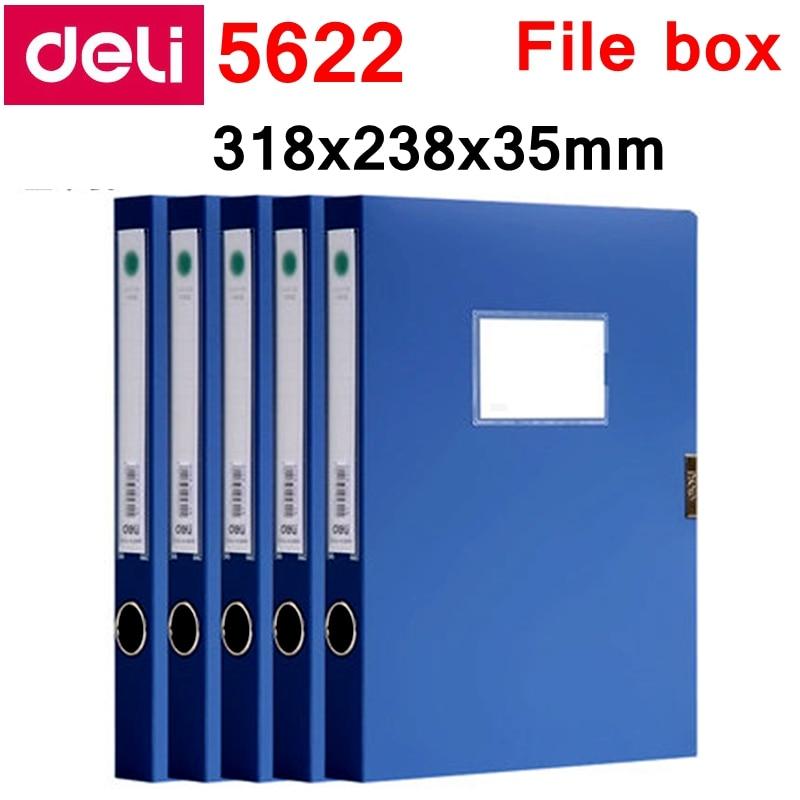 5PCS/LOT Deli 5622 5623 A4 File Box Documents Box File Case With Plush Clasp 35mm 50mm Color Blue & Black Wholesale