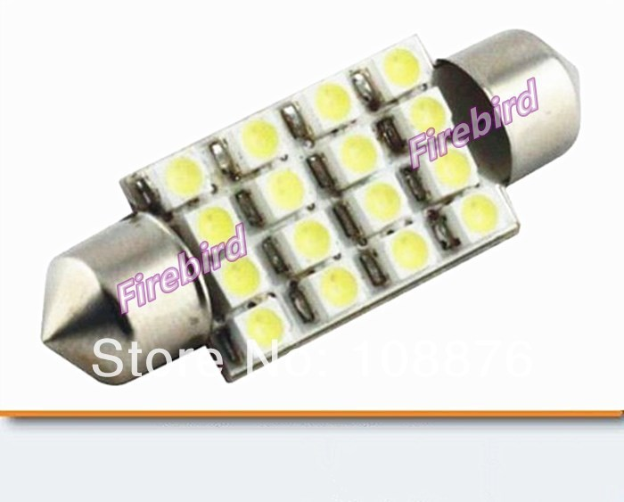 20 x C5W white <font><b>led</b></font> car reading lights 16SMD 1W 39mm or <font><b>41mm</b></font> length instrument luggage compartment lights bulb