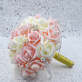 2015 Handmade 5 Colors PE Crystal Pearls Bride Hands Holding Rose Flowers Wedding Bridal Bouquet buque de noiva, WQ228