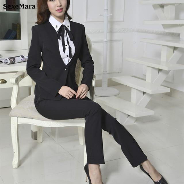 e7a90a53f9 2017 Nuevo Top Moda Mujer Pantalones Pantalones Mujer Trajes Estilos de  Negocios Elegante de Vestir para
