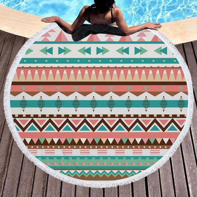 Beach towels on sand Beach Australian Geometric Bohemian Round Sand Beach Towel Summer Sport Microfiber Large Bath Towels With Tassels Lawn Outdoor Chica And Jo Geometric Bohemian Round Sand Beach Towel Summer Sport Microfiber
