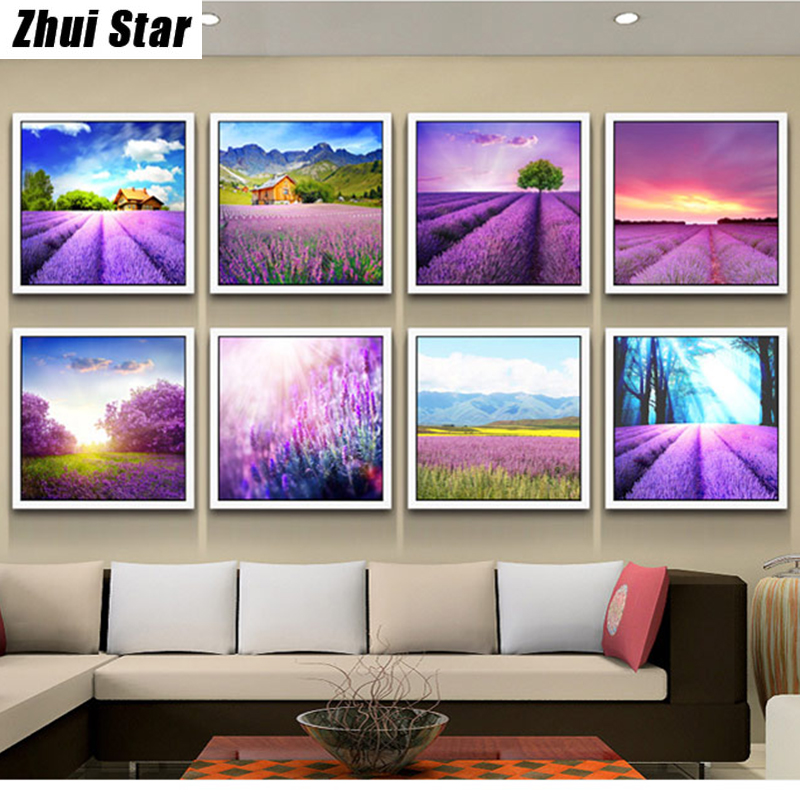 5D DIY Diamond Painting lavender fields Embroidery Full Square Diamond Cross Stitch Rhinestone Mosaic Painting Home Decor Gift