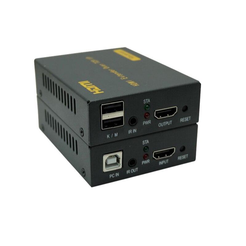 Nouveau HDMI Extender IP Réseau KVM Extender Haute Qualité 120 m USB HDMI IR KVM Extender par CAT5e/6 support TCP/IP