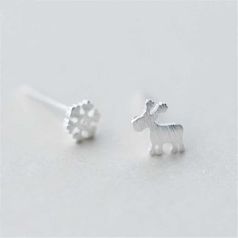 925 Sterling Silver Snowflake Mini Elks Deer Stud Earrings for Women Party Gift Jewelry pendientes boucle d oreille eh938
