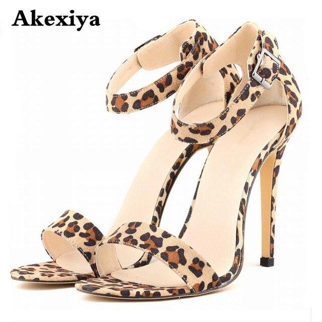 3102d9fe15b6d Pasek na kostkę sandały na wysokim obcasie buty damskie 11 cm cienkie obcasy  moda Leopard sandały