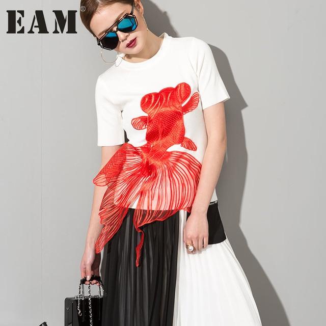 [EAM] 2017 Весна-осень Круглый воротник с коротким рукавом сплошной цвет вышивка черный вязание Футболка женская мода прилив 1TB0320