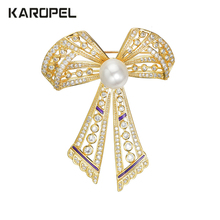 Simulation Pearl Cubic Zirconia CZ Zircon Bow Brooches Gold Pated for Wedding Party