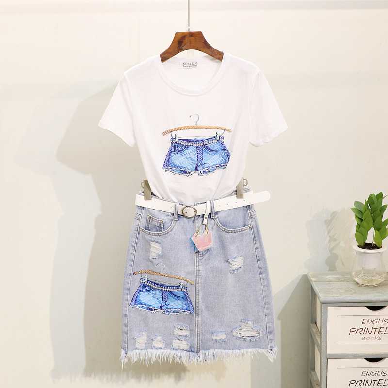 Denim Jeans Skirts Suit Lady Summer Sequined Hanger Printed Short-sleeved T-shirt + Grinded Jean Skirt Two-piece Suit for Women