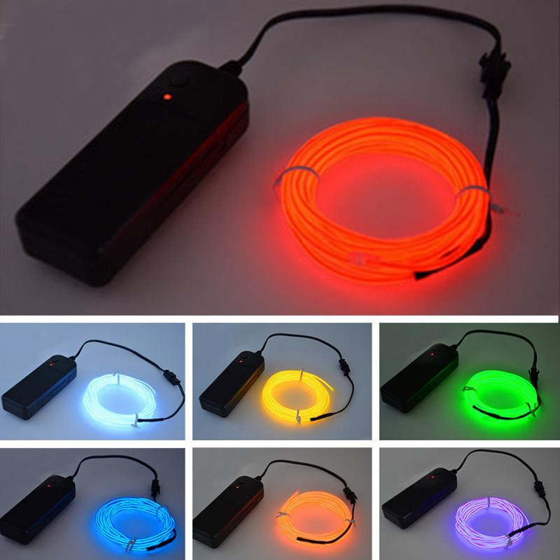 1/2/3/5M elastyczny neon ledowy lampa podświetlany przewód rura linowa kabel + sterownik baterii LED samochodów odzież lekkie dekoracje ślubne i bożonarodzeniowe