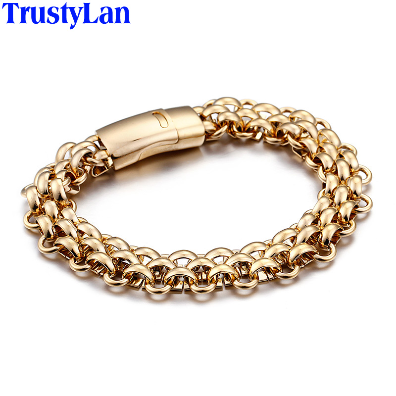 TrustyLan Trendy Shiny Stainless Steel Mens